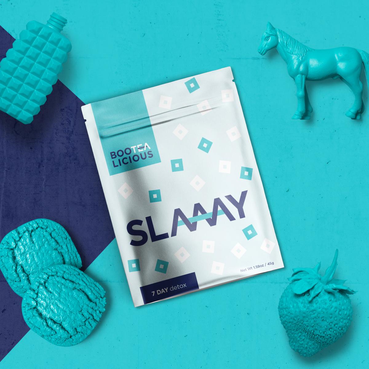 Slaaay tea packaging flatlay