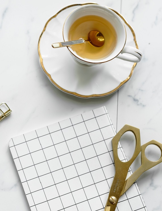 cup of tea with gold decor